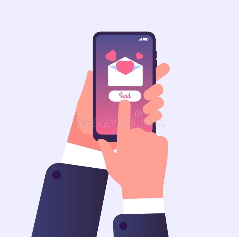 Αποστολή του μηνύματος αγάπης Τηλέφωνο κυττάρων εκμετάλλευσης χεριών με την καρδιά αγάπης στην οθόνη Διανυσματική έννοια μηνυμάτω ελεύθερη απεικόνιση δικαιώματος
