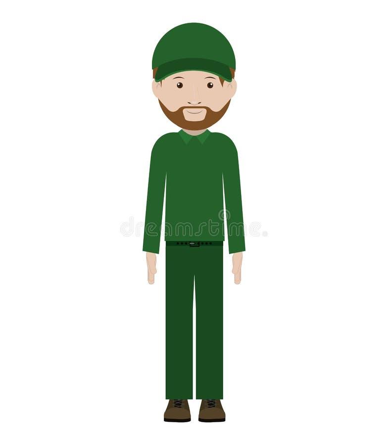 Αποστολέας ατόμων με πράσινους ομοιόμορφο και το καπέλο διανυσματική απεικόνιση
