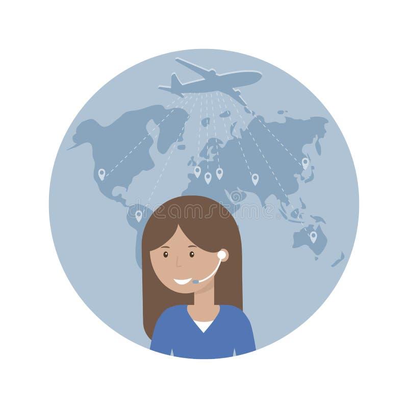 Αποστολέας γυναικών και χάρτης του κόσμου απεικόνιση αποθεμάτων