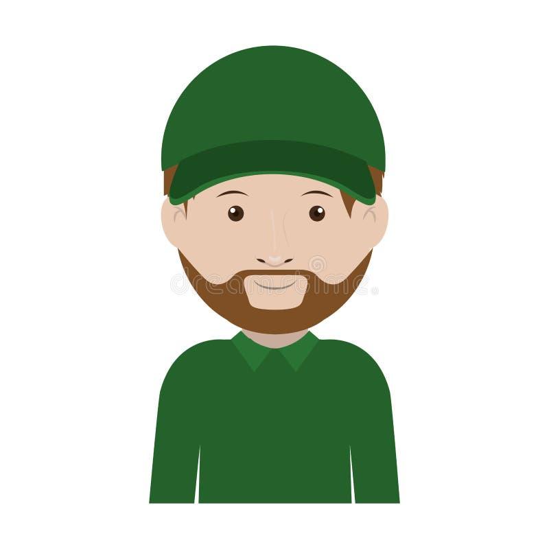 Αποστολέας με πράσινους ομοιόμορφο και το καπέλο διανυσματική απεικόνιση