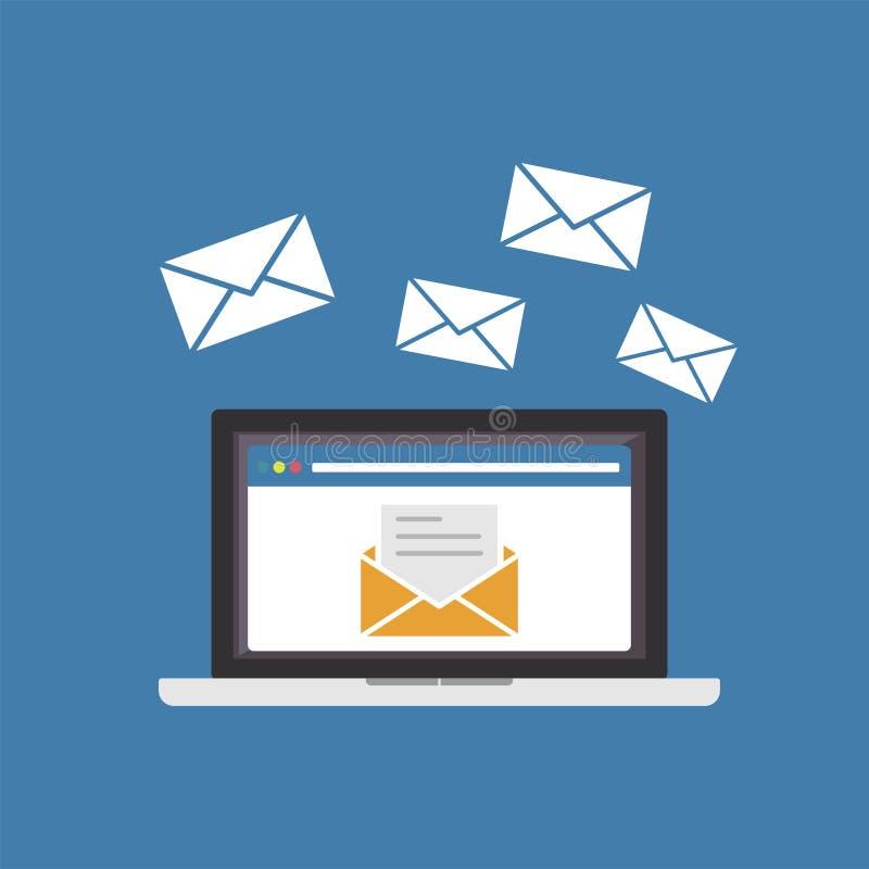 Αποστολή ή λήψη του ηλεκτρονικού ταχυδρομείου Μάρκετινγκ ηλεκτρονικού ταχυδρομείου διανυσματική απεικόνιση