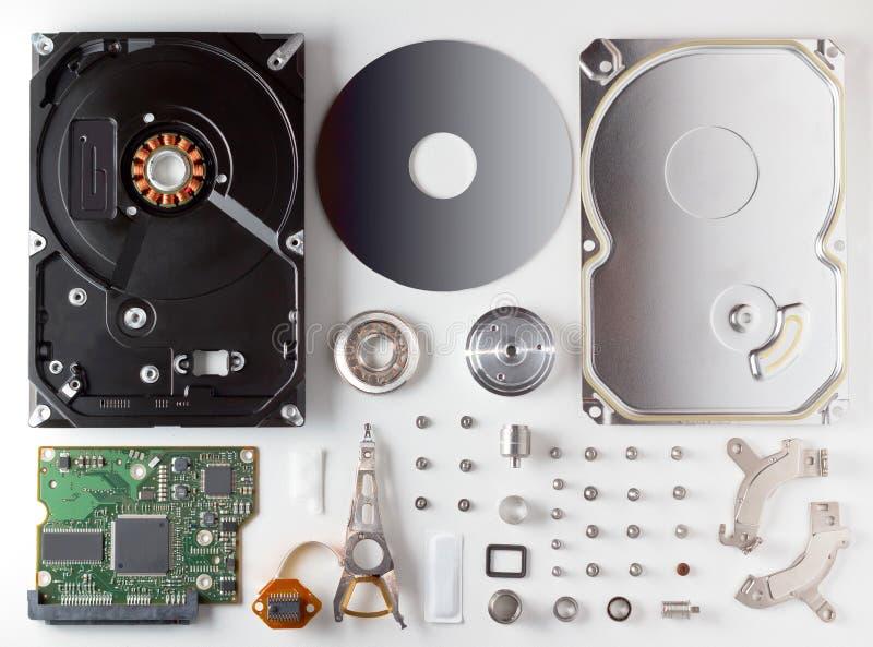 Αποσυντεθειμένος σκληρός δίσκος HDD στοκ εικόνες