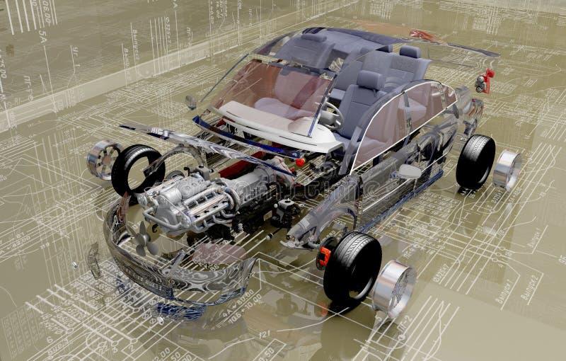 Αποσυντεθειμένο αυτοκίνητο απεικόνιση αποθεμάτων