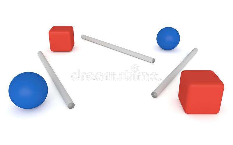 Αποσύνδεση - μπλε σφαίρες και κόκκινοι κύβοι, τρισδιάστατη απεικόνιση απεικόνιση αποθεμάτων