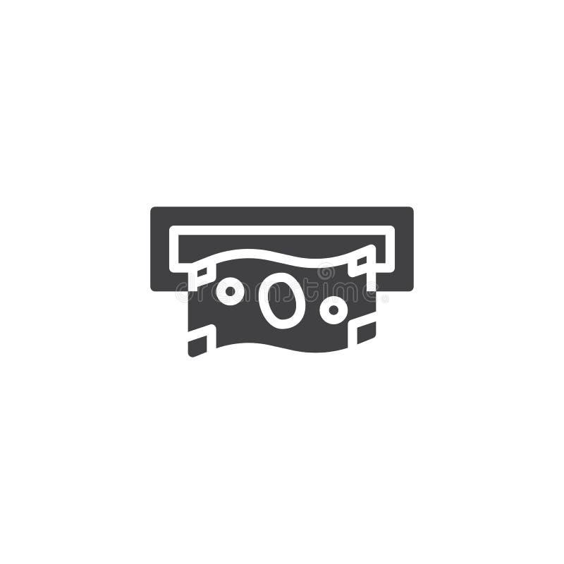 Αποσύρετε τα χρήματα από το διανυσματικό εικονίδιο αυλακώσεων του ATM ελεύθερη απεικόνιση δικαιώματος