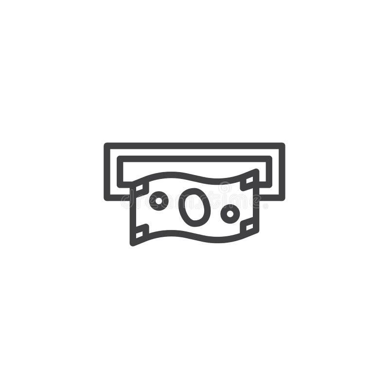 Αποσύρετε τα χρήματα από το εικονίδιο γραμμών αυλακώσεων του ATM διανυσματική απεικόνιση