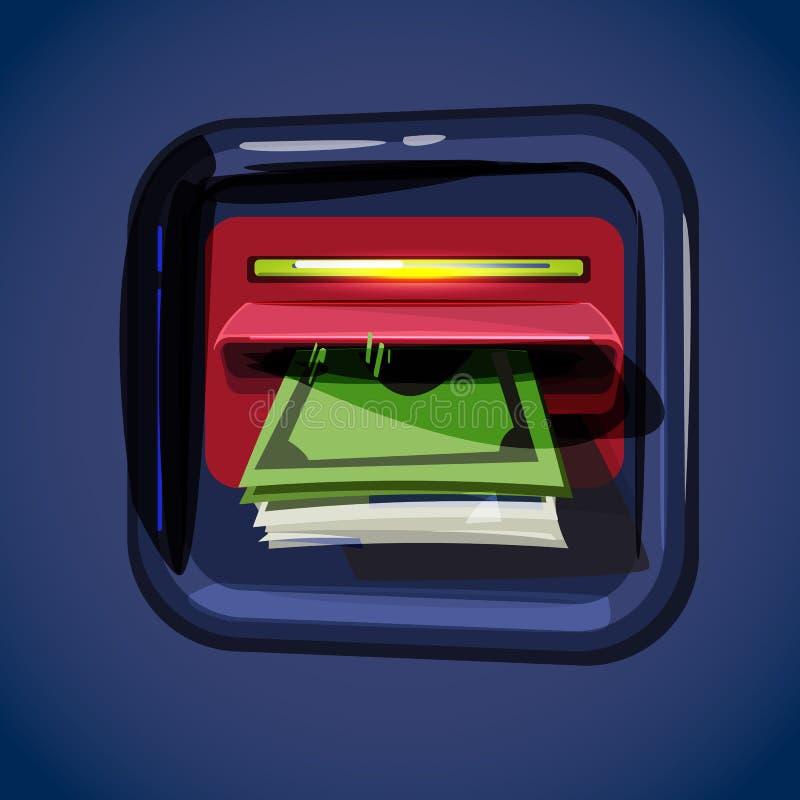 Αποσύρετε τα χρήματα στα τραπεζογραμμάτια από το ATM αυτόματη μηχανή χρημάτων εύκολο μ ελεύθερη απεικόνιση δικαιώματος