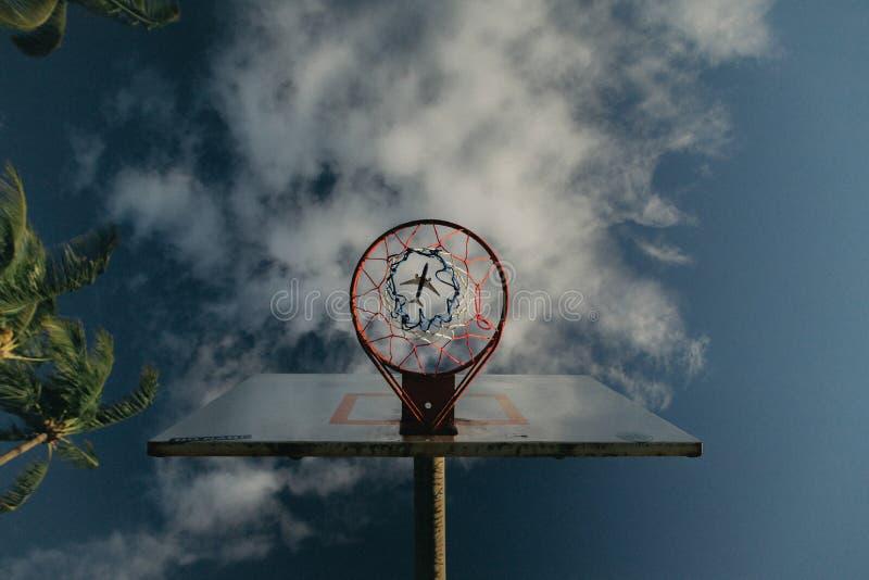 Αποτέλεσμα μιας στεφάνης καλαθοσφαίρισης με ένα αεροπλάνο ορατό μέσω της τρύπας καλαθιών στον ουρανό στοκ εικόνες