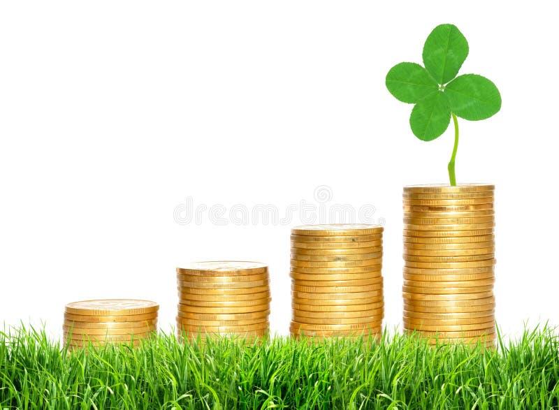 Αποταμίευση, αυξανόμενες στήλες των χρυσών νομισμάτων και πράσινο φύλλο τριφυλλιού στοκ εικόνες με δικαίωμα ελεύθερης χρήσης