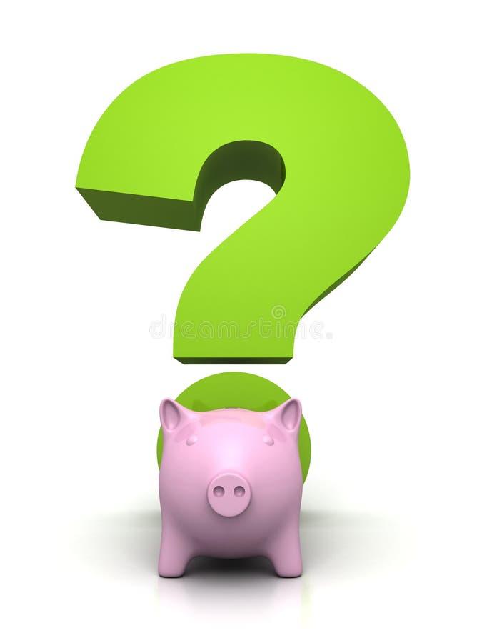 Αποταμίευση και έννοια επένδυσης με το piggybank και ένα πράσινο ερωτηματικό διανυσματική απεικόνιση