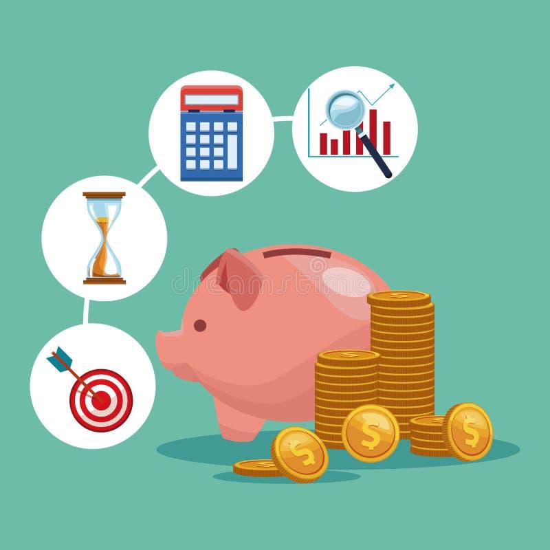 Αποταμίευση χρημάτων Piggy διανυσματική απεικόνιση