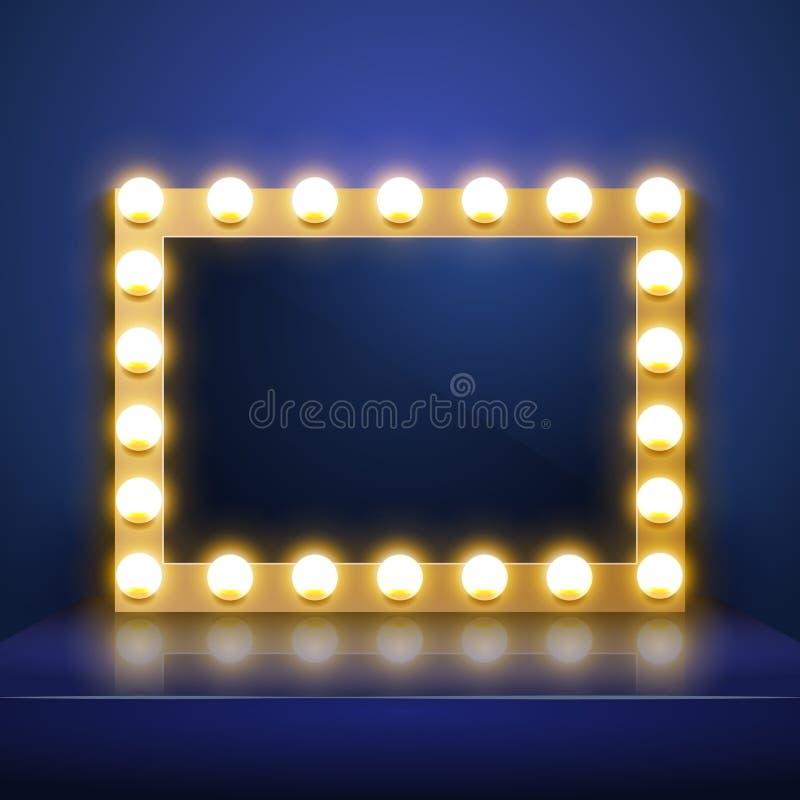 Αποτελέστε τον καθρέφτη με το φως Διανυσματικό βεστιάριο καλλιτεχνών Καθρέφτης σύνθεσης ελεύθερη απεικόνιση δικαιώματος