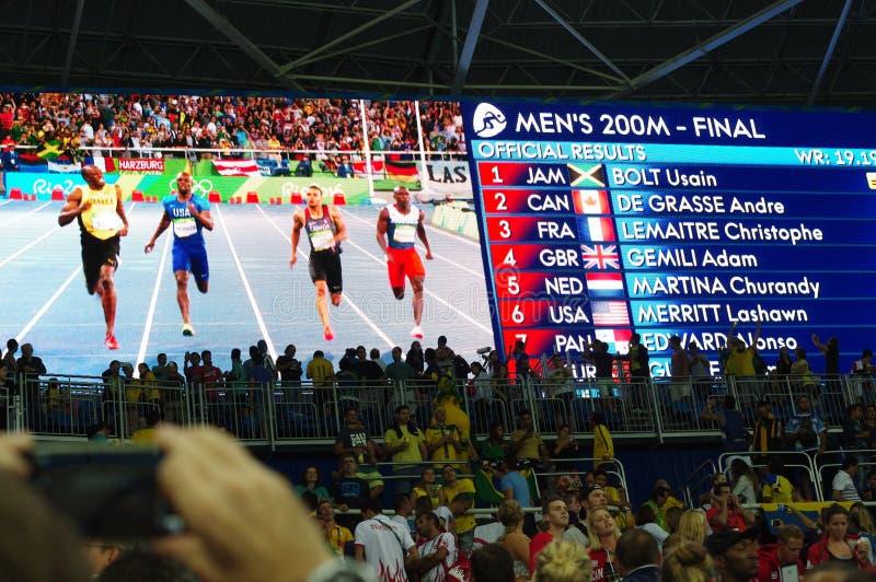 Αποτελέσματα της ορμής ατόμων ` s 200m που οργανώνεται σε Rio2016 στοκ φωτογραφία με δικαίωμα ελεύθερης χρήσης