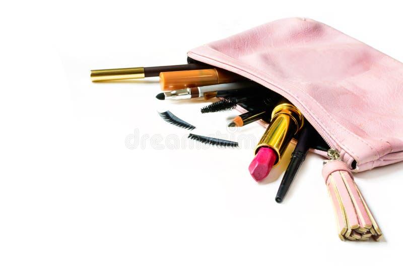 Αποτελέστε την τσάντα με τα καλλυντικά που απομονώνονται στοκ φωτογραφίες με δικαίωμα ελεύθερης χρήσης