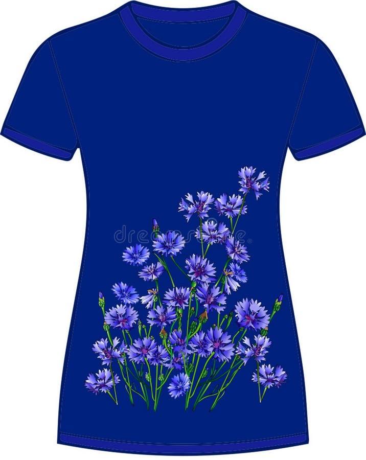 Αποτύπωμα από φλορίνια σε μπλουζάκι Άνθη Μπλε φόντο, trendy color 2020 απεικόνιση αποθεμάτων
