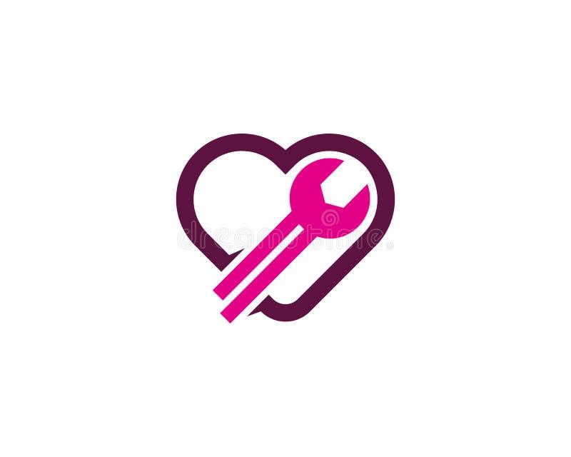 Αποτύπωση αγάπης και στοιχείο σχεδίου λογότυπων εικονιδίων επισκευής ελεύθερη απεικόνιση δικαιώματος