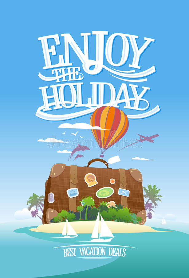 Απολαύστε τις διακοπές, σχέδιο διαφήμισης ταξιδιού με την τεράστια βαλίτσα σε ένα τροπικό νησί ελεύθερη απεικόνιση δικαιώματος