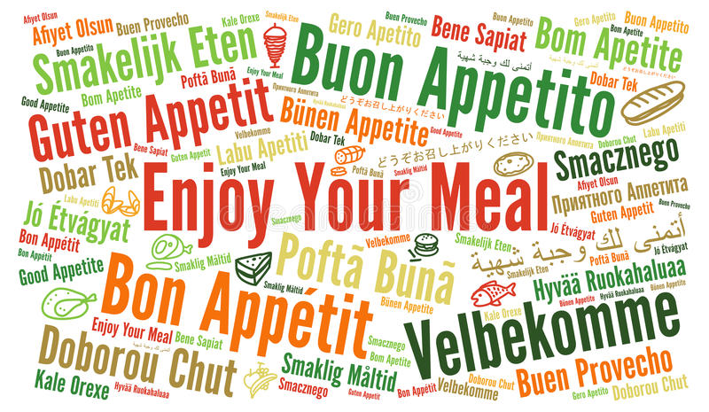 Απολαύστε το γεύμα σας στις διαφορετικές γλώσσες απεικόνιση αποθεμάτων