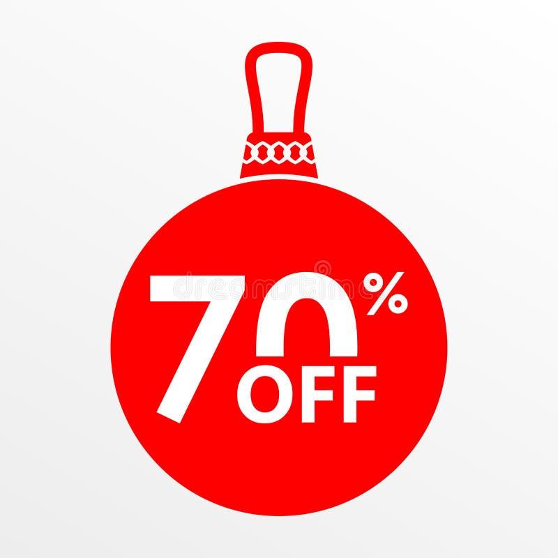 70% ΑΠΟ ΤΗΝ ΠΩΛΗΣΗ Χριστούγεννα και νέα σφαίρα έτους με την τιμή μακριά ή το πρότυπο σχεδίου ετικεττών έκπτωσης επίσης corel σύρε στοκ εικόνα με δικαίωμα ελεύθερης χρήσης