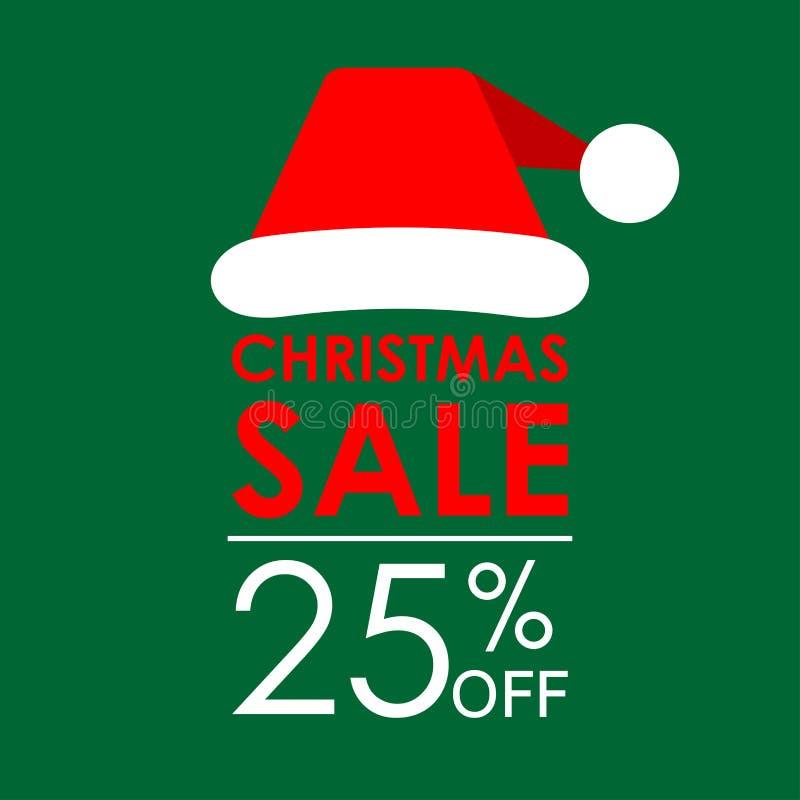 25% ΑΠΟ την πώληση Έμβλημα πώλησης Χριστουγέννων και πρότυπο σχεδίου έκπτωσης με το καπέλο Άγιου Βασίλη επίσης corel σύρετε το δι στοκ εικόνες