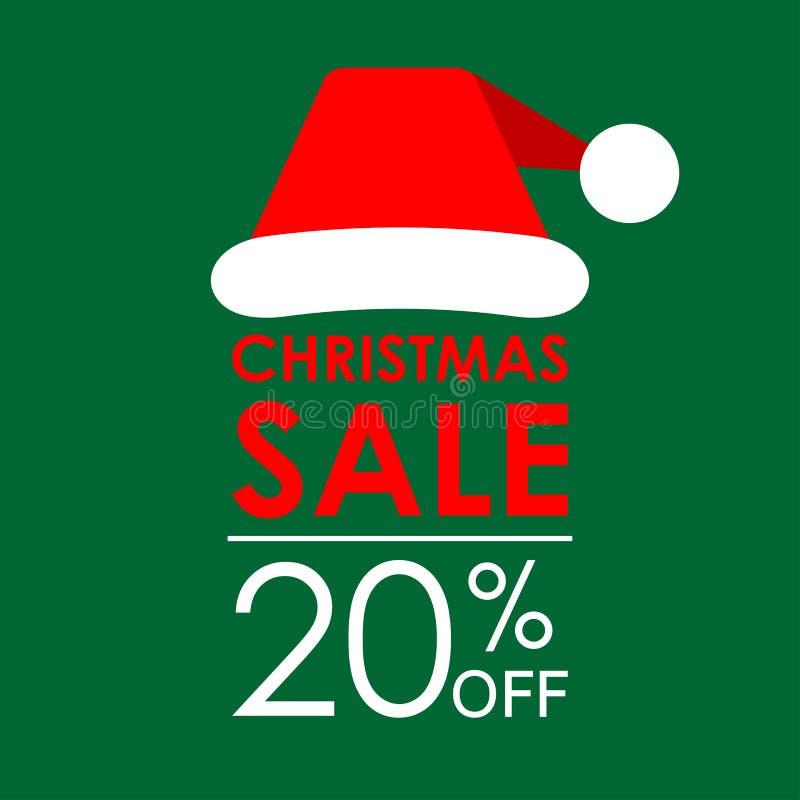 20% ΑΠΟ την πώληση Έμβλημα πώλησης Χριστουγέννων και πρότυπο σχεδίου έκπτωσης με το καπέλο Άγιου Βασίλη επίσης corel σύρετε το δι στοκ εικόνα με δικαίωμα ελεύθερης χρήσης