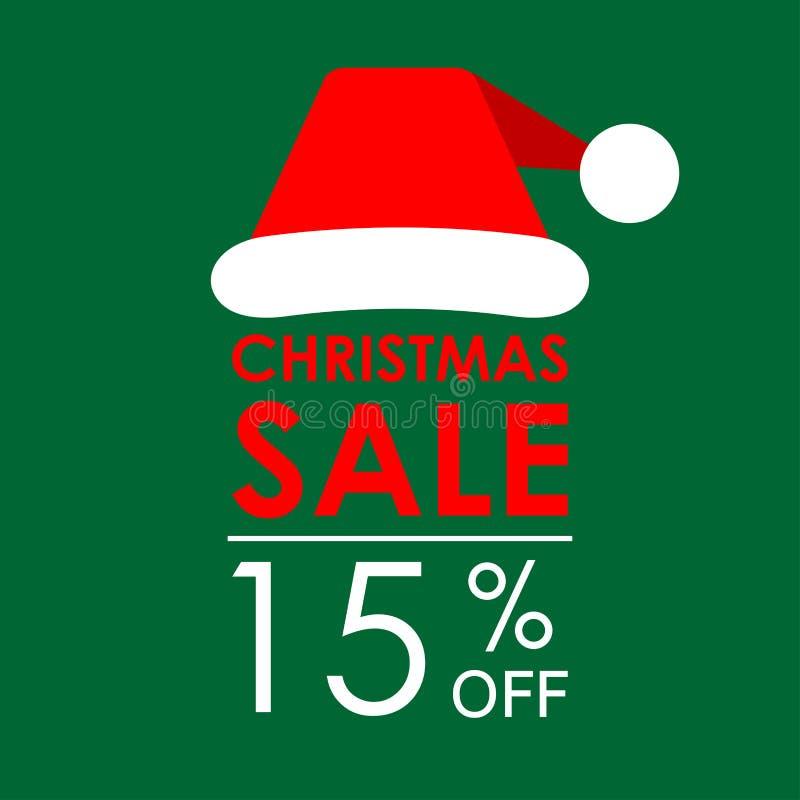 15% ΑΠΟ την πώληση Έμβλημα πώλησης Χριστουγέννων και πρότυπο σχεδίου έκπτωσης με το καπέλο Άγιου Βασίλη επίσης corel σύρετε το δι στοκ εικόνα