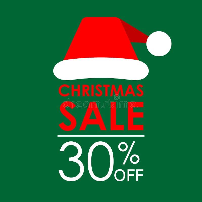 30% ΑΠΟ την πώληση Έμβλημα πώλησης Χριστουγέννων και πρότυπο σχεδίου έκπτωσης με το καπέλο Άγιου Βασίλη επίσης corel σύρετε το δι στοκ εικόνες