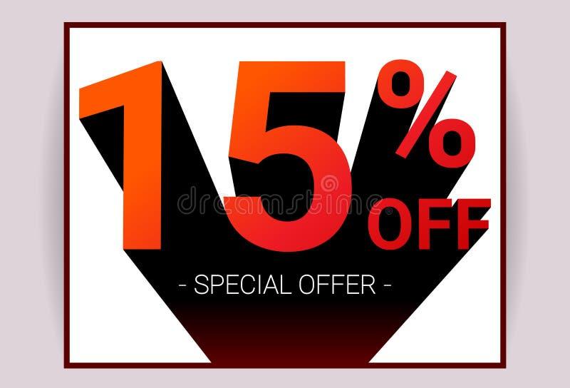 15% ΑΠΟ την πώληση Ειδική κάρτα διαφήμισης promo προσφοράς έκπτωσης ελεύθερη απεικόνιση δικαιώματος