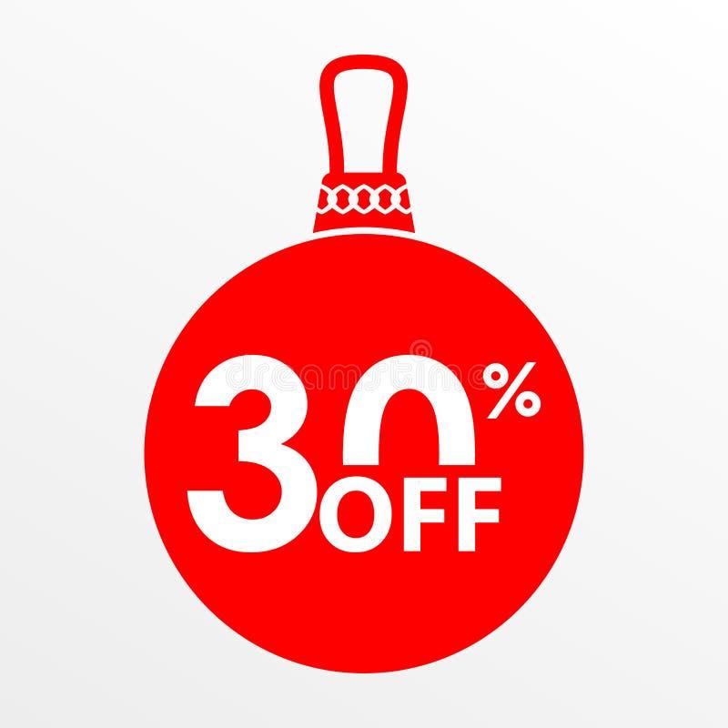 30% ΑΠΟ την πώληση Χριστούγεννα και νέα σφαίρα έτους με την τιμή μακριά ή το πρότυπο σχεδίου ετικεττών έκπτωσης επίσης corel σύρε στοκ εικόνες με δικαίωμα ελεύθερης χρήσης