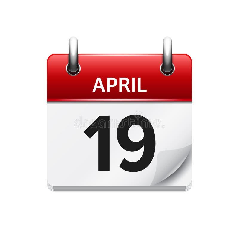 19 Απριλίου Διανυσματικό επίπεδο καθημερινό ημερολογιακό εικονίδιο Ημερομηνία και χρόνος, ημέρα, μήνας διακοπές απεικόνιση αποθεμάτων