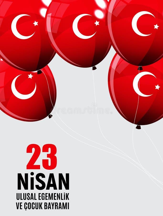 23 Απριλίου ο Τούρκος ημέρας παιδιών ` s μιλά: 23 Nisan Cumhuriyet Bayrami επίσης corel σύρετε το διάνυσμα απεικόνισης διανυσματική απεικόνιση
