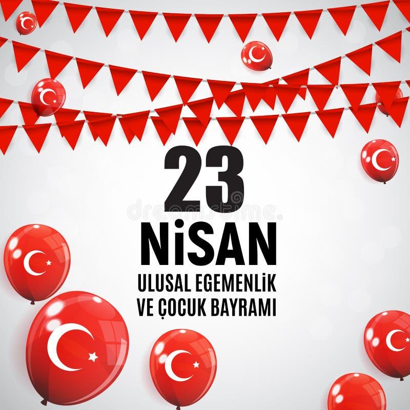 23 Απριλίου ο Τούρκος ημέρας παιδιών ` s μιλά: 23 Nisan Cumhuriyet Bayrami επίσης corel σύρετε το διάνυσμα απεικόνισης ελεύθερη απεικόνιση δικαιώματος