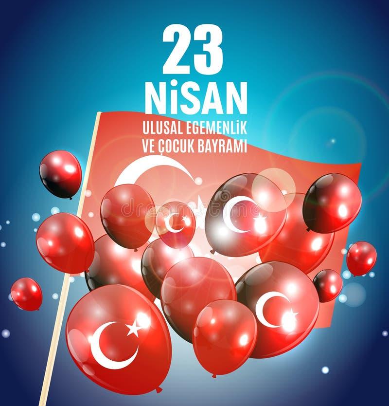 23 Απριλίου ο Τούρκος ημέρας παιδιών ` s μιλά: 23 Nisan Cumhuriyet Bayrami επίσης corel σύρετε το διάνυσμα απεικόνισης απεικόνιση αποθεμάτων