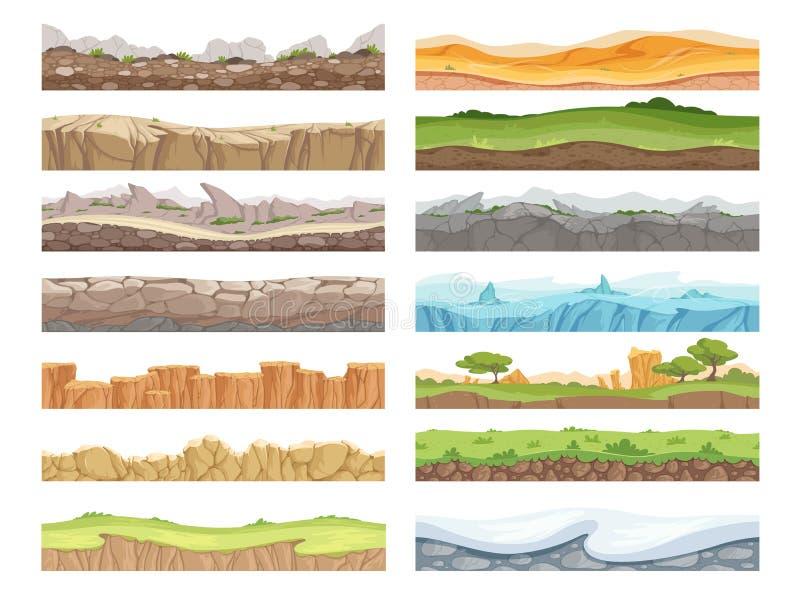 Απρόσκοπτο έδαφος παιχνιδιού Εικόνα κινουμένων σχεδίων, πετρόπετρα, χώμα, έδαφος, 2δ φόντο διανύσματος δαπέδου ελεύθερη απεικόνιση δικαιώματος