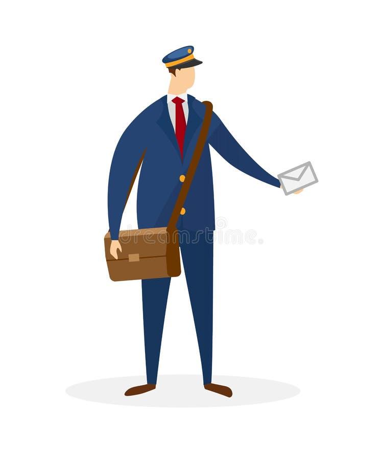 Απρόσωπος αρσενικός χαρακτήρας του ταχυδρόμου που παραδίδει το ταχυδρομείο διανυσματική απεικόνιση