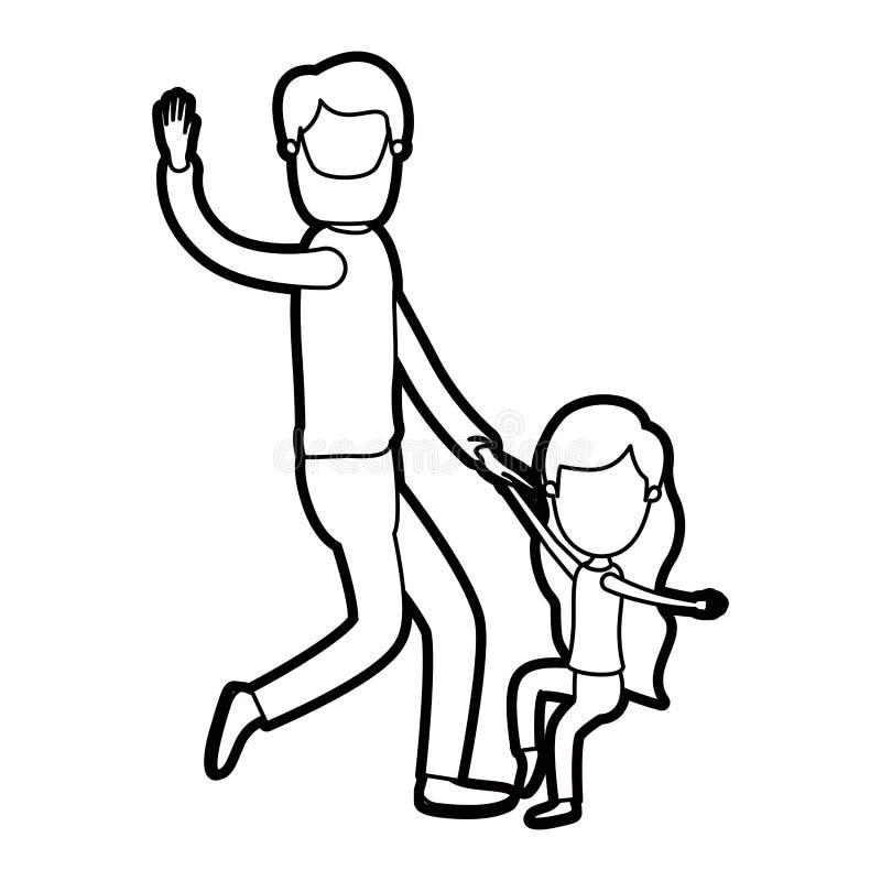 Απρόσωπος γενειοφόρος πατέρας περιγράμματος καρικατουρών παχύς με το χορό κοριτσιών απεικόνιση αποθεμάτων