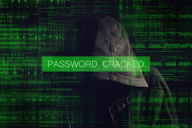 Απρόσωπος με κουκούλα ανώνυμος χάκερ υπολογιστών στοκ εικόνα