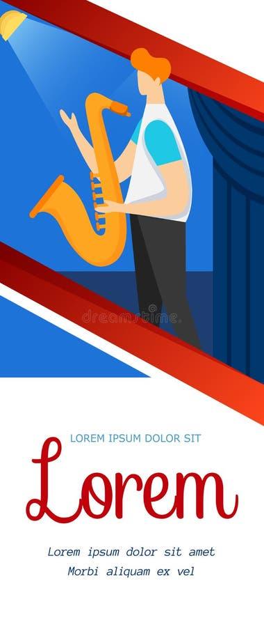 Απρόσωπος χαρακτήρας του αρσενικού μουσικού με Saxophone διανυσματική απεικόνιση