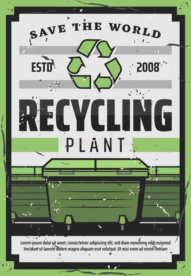 Απόβλητα, απορρίματα, εμπορευματοκιβώτια απορριμμάτων Ανακυκλώνοντας εγκαταστάσεις απεικόνιση αποθεμάτων