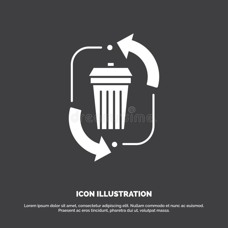 απόβλητα, διάθεση, απορρίματα, διαχείριση, ανακύκλωσης εικονίδιο glyph διανυσματικό σύμβολο για UI και UX, τον ιστοχώρο ή την κιν διανυσματική απεικόνιση