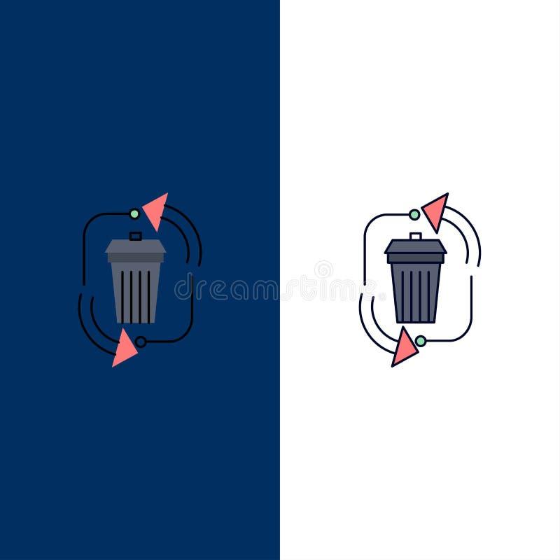 απόβλητα, διάθεση, απορρίματα, διαχείριση, ανακύκλωσης επίπεδο διάνυσμα εικονιδίων χρώματος απεικόνιση αποθεμάτων