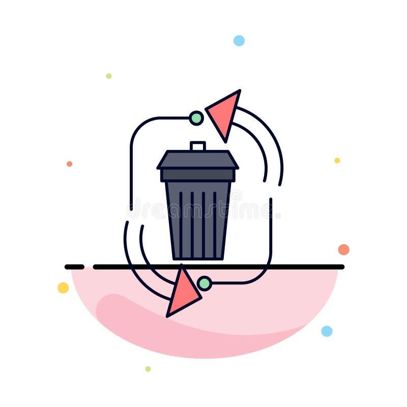 απόβλητα, διάθεση, απορρίματα, διαχείριση, ανακύκλωσης επίπεδο διάνυσμα εικονιδίων χρώματος ελεύθερη απεικόνιση δικαιώματος