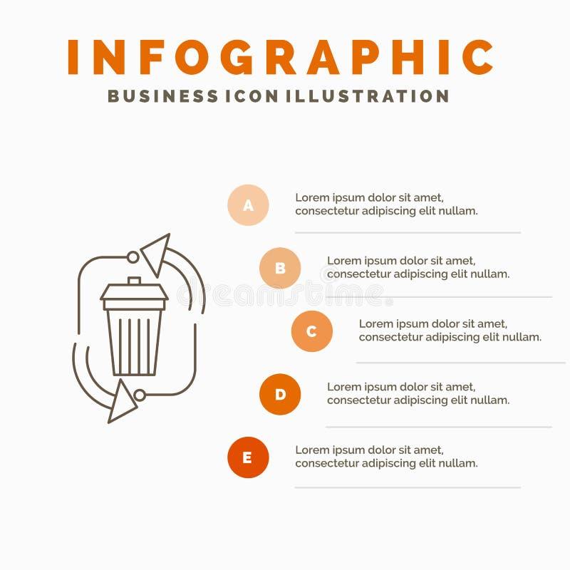 απόβλητα, διάθεση, απορρίματα, διαχείριση, ανακύκλωσης πρότυπο Infographics για τον ιστοχώρο και παρουσίαση Γκρίζο εικονίδιο γραμ ελεύθερη απεικόνιση δικαιώματος