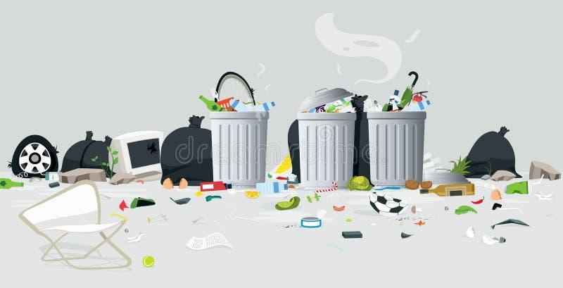 Απόβλητα των απορριμάτων διανυσματική απεικόνιση