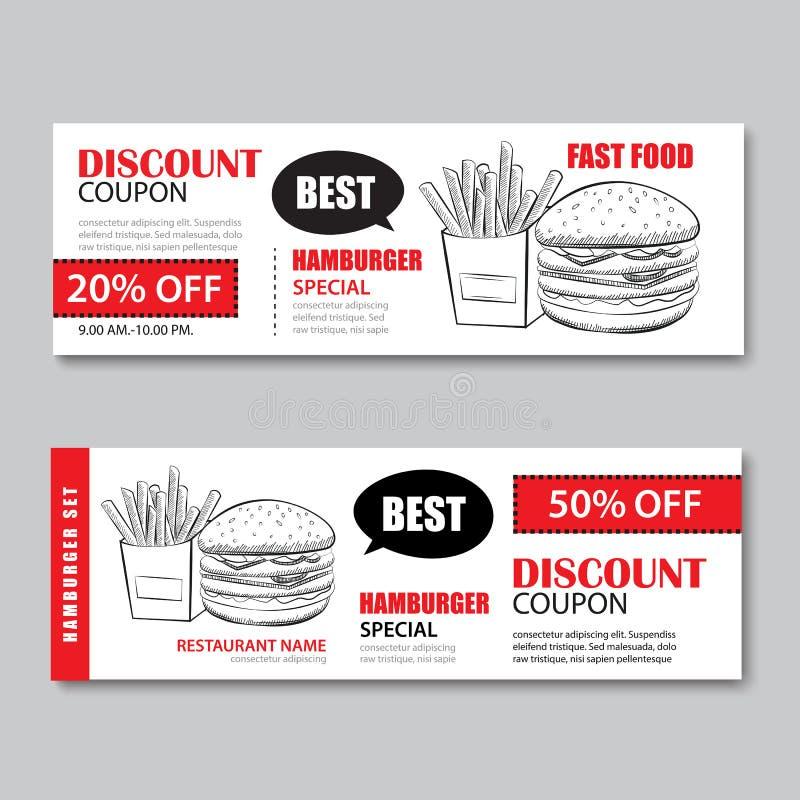 Απόδειξη δώρων γρήγορου φαγητού και πρότυπο επίπεδο de έκπτωσης πώλησης δελτίων ελεύθερη απεικόνιση δικαιώματος