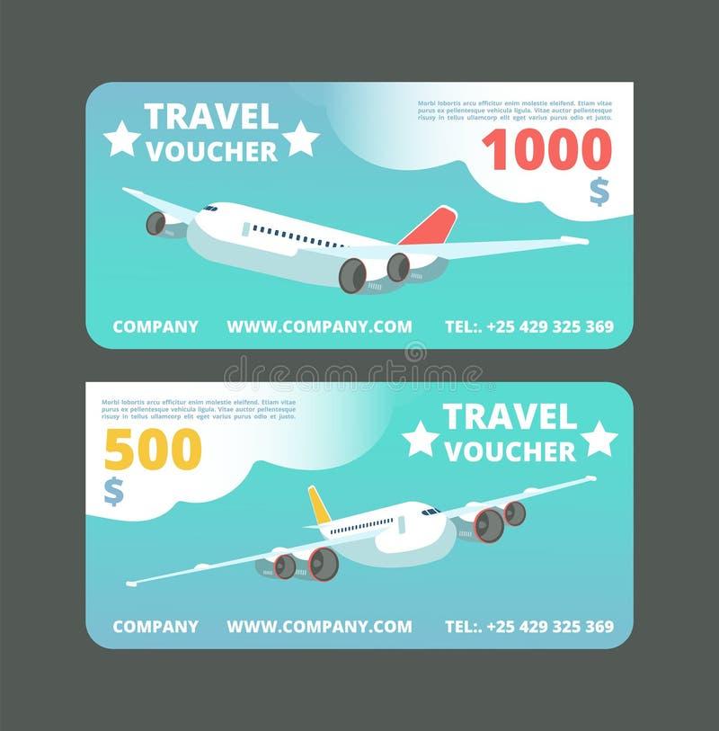 Απόδειξη ταξιδιού δώρων, διακινούμενη κάρτα promo Εισιτήριο με το πετώντας αεροπλάνο στο διανυσματικό σύνολο ουρανού ελεύθερη απεικόνιση δικαιώματος