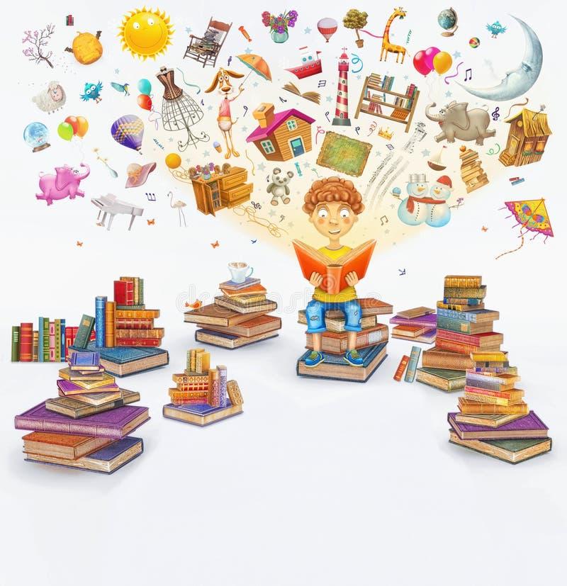 Απόδοση απεικόνισης λίγου νέου αγοριού πιπεροριζών που διαβάζει ένα βιβλίο στο άσπρο υπόβαθρο απεικόνιση αποθεμάτων