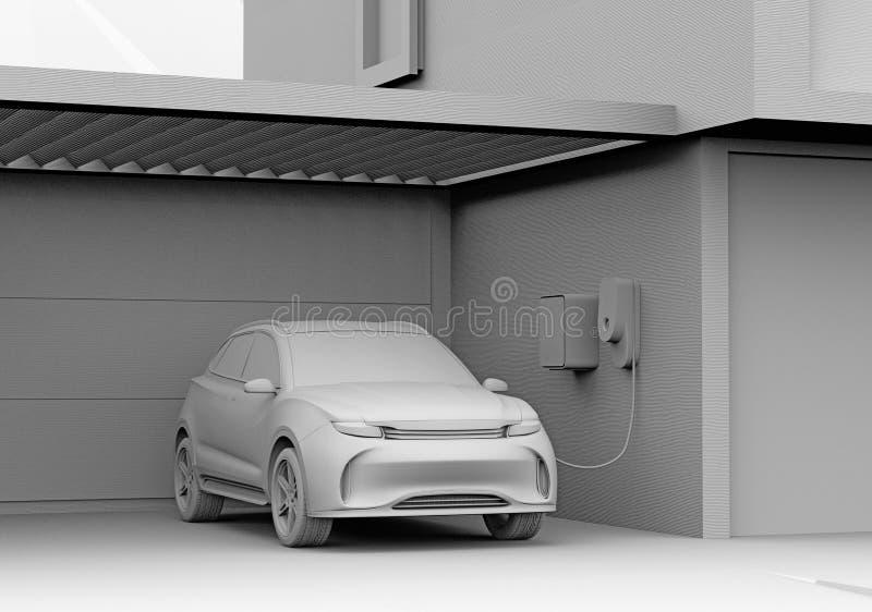 Απόδοση αργίλου ηλεκτρικού τροφοδοτημένου SUV που επαναφορτίζει στο γκαράζ ελεύθερη απεικόνιση δικαιώματος