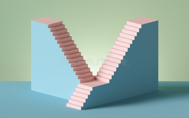απόδοση 3d, σκάλες και βήματα, αφηρημένο φόντο σε παστέλ χρώματα, βάθρο μόδας, ελάχιστη σκηνή, αρχιτεκτονικά στοιχεία σχεδίασης ελεύθερη απεικόνιση δικαιώματος