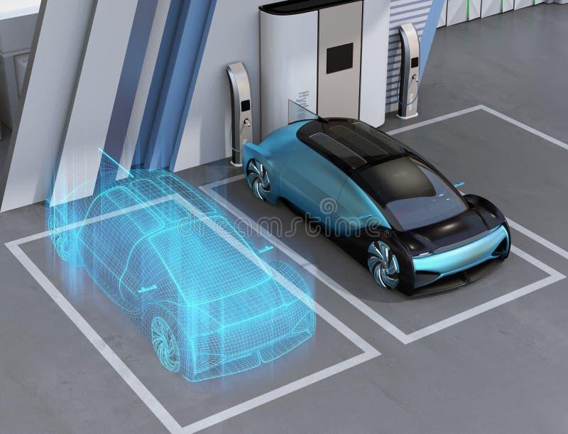 Απόδοση Wireframe τροφοδοτημένου του κύτταρο καυσίμου αυτόνομου αυτοκινήτου στο σταθμό υδρογόνου κυττάρων καυσίμου απεικόνιση αποθεμάτων